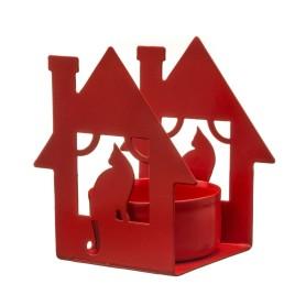 Подсвечник для чайной свечи «Дом с кошкой», красный