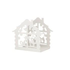 Подсвечник для чайной свечи «Дом с кошками», белый