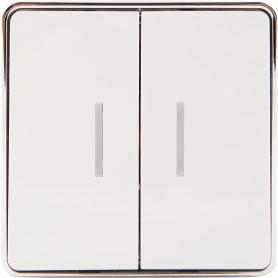 Выключатель накладной Werkel Gallant 2 клавиши с подсветкой, цвет белый