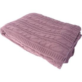 Плед вязаный «Косичка», 180х200, акрил, цвет фиолетовый