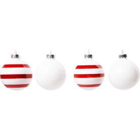 Набор ёлочных украшений 4 шара, стекло, цвет красный в полоску