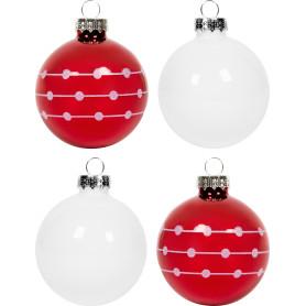 Набор ёлочных украшений 4 шара, стекло, цвет красный, белый