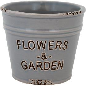 Кашпо цветочное «Кактусник», D8, 0, 4л. керамика, Серый / Серебристый