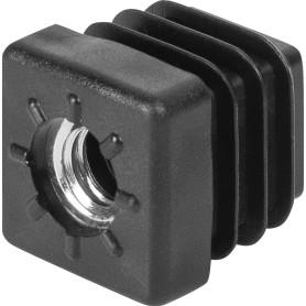 Заглушка для трубы 20x20 мм, с отверстием М8, 4 шт.