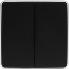 Выключатель накладной Werkel Gallant 2 клавиши, цвет чёрный с серебром