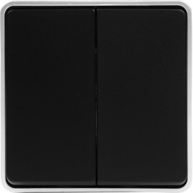 Выключатель накладной влагозащищённый Werkel Gallant 2 клавиши, IP44, цвет чёрный с серебром