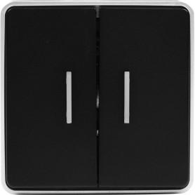 Выключатель накладной Werkel Gallant 2 клавиши с подсветкой, цвет чёрный с серебром