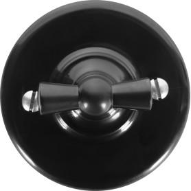 Выключатель накладной Electraline Bironi Ретро 2 положения цвет чёрный