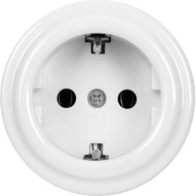 Розетка накладная Electraline Bironi Ретро с заземлением, керамика, цвет белый