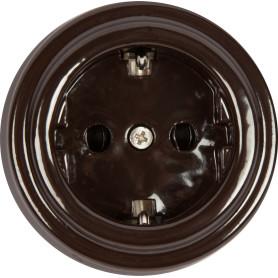 Розетка накладная Electraline Bironi Ретро с заземлением, керамика, цвет коричневый