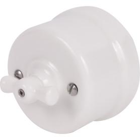 Выключатель накладной Electraline Bironi Ретро 1 положение цвет белый