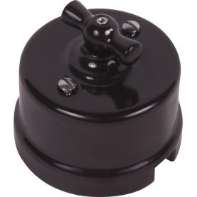 Выключатель накладной Electraline Bironi Ретро 1 положение цвет коричневый
