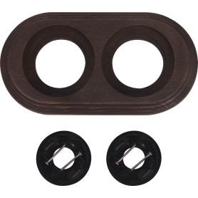 Рамка для розеток и выключателей Electraline Старое Дерево 2 поста, цвет коричневый