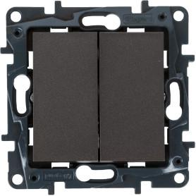 Выключатель встраиваемый Legrand Structura 2 клавиши, цвет магнезиум