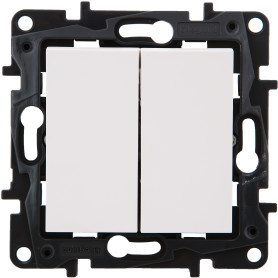 Переключатель встраиваемый Legrand Structura 2 клавиши, цвет белый