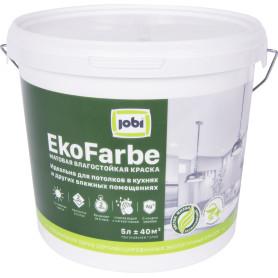 Краска для кухни и ванной Jobi «Ekofarbe», цвет белый, 5 л