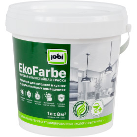Краска для кухни и ванной Jobi «Ekofarbe», цвет белый, 1 л