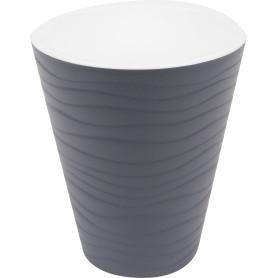 Горшок цветочный «Валенсия» D17, 2, 8л., пластик, Серый / Серебристый, Черный