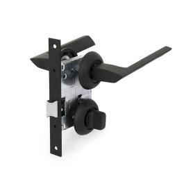 Комплект дверных ручек 20L 170 BK BP, с фиксатором, цвет чёрный