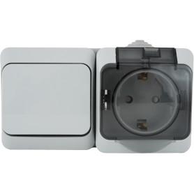 Блок выключатель с розеткой влагозащищённый Schneider Electric Этюд 1 клавиша, с заземлением, с крышкой и шторками, IP44