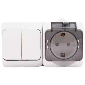 Блок выключатель с розеткой влагозащищённый Schneider Electric Этюд 2 клавиши, с заземлением, с крышкой и шторками, IP44