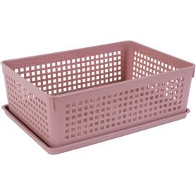 Лоток с крышкой, 270х190х90 мм, 3.7 л, полипропилен, цвет розовый