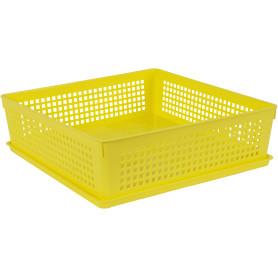 Лоток с крышкой, 310х310х90 мм, 7.3 л, полипропилен, цвет жёлтый