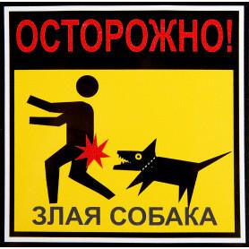 Наклейка «Опасно злая собака» 100х100 мм полиэстер