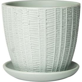 Горшок цветочный «Метро» D12, 0, 7л., бетон, Серый / Серебристый