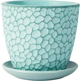 Горшок цветочный «Манго» D12, 0, 7л., бетон, Зеленый, Синий