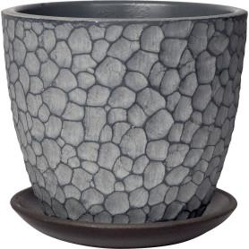 Горшок цветочный «Манго» D15, 1, 3л., бетон, Серый / Серебристый