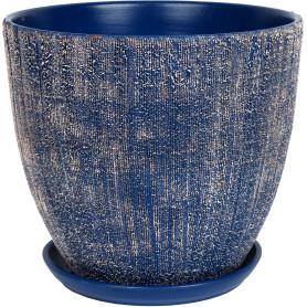 Горшок цветочный Меланж ø26 h24 см v8.5 л керамика синий/бежевый