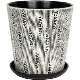 Горшок цветочный Клокс ø22 h23 см v4.8 л керамика белый/чёрный