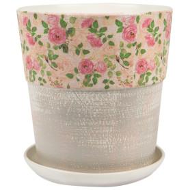 Горшок цветочный Шебби Шик ø26 h27 см v8.5 л керамика бежевый/серый/розовый
