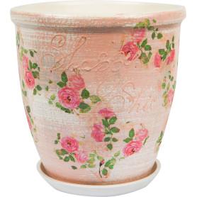 Горшок цветочный Шебби Шик ø22 h23 см v4.8 л керамика бежевый/розовый/зелёный