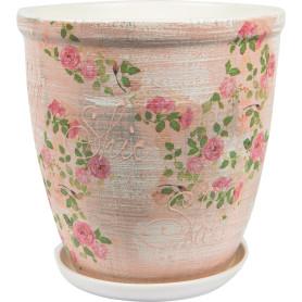 Горшок цветочный Шебби Шик ø26 h27 см v8.5 л керамика бежевый/розовый/зелёный