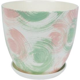 Горшок цветочный «Помпадур» D26, 8, 5л., керамика, Бежевый, Розовый, Зеленый