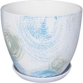 Горшок цветочный Бонди ø22 h20 см v4.8 л керамика белый/синий/мятный