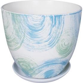 Горшок цветочный Бонди ø26 h24 см v8.5 л керамика белый/синий/мятный
