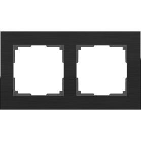 Рамка для розеток и выключателей Werkel Aluminium 2 поста, металл, цвет черный алюминий