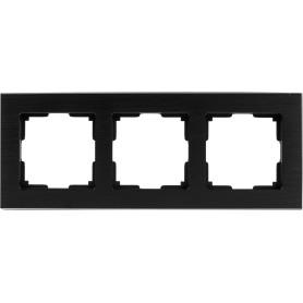 Рамка для розеток и выключателей Werkel Aluminium 3 поста, металл, цвет черный алюминий