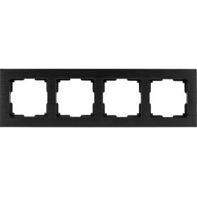 Рамка для розеток и выключателей Werkel Aluminium 4 поста, металл, цвет черный алюминий