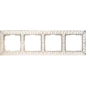 Рамка для розеток и выключателей Werkel Antik 4 поста, металл, цвет белое золото