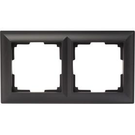 Рамка для розеток и выключателей Werkel Fiore 2 поста, цвет чёрный матовый