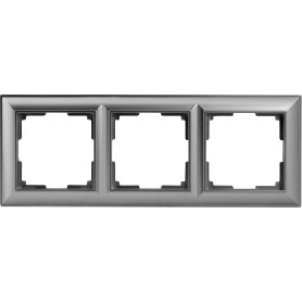Рамка для розеток и выключателей Werkel Fiore 3 поста, цвет серебряный