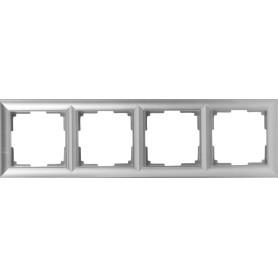 Рамка для розеток и выключателей Werkel Fiore 4 поста, цвет серебряный