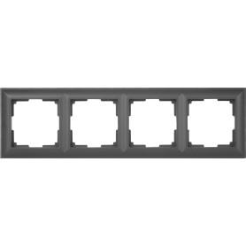 Рамка для розеток и выключателей Werkel Fiore 4 поста, цвет чёрный матовый