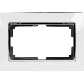 Рамка для двойных розеток Werkel Snabb, цвет белый/хром