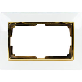 Рамка для двойных розеток Werkel Snabb, цвет белый/золото