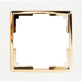 Рамка для розеток и выключателей Werkel Snabb 1 пост, цвет белый/золото